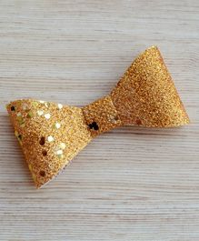 Pretty Ponytails Shimmer Bow Metallic Clip - Gold