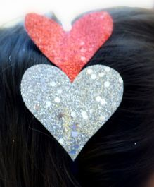 Pretty Ponytails Shimmer Heart Metallic Hairband - Red & Silver