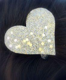 Pretty Ponytails Shimmer Heart Metallic Clip - Silver