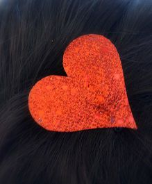 Pretty Ponytails Shimmer Heart Metallic Clip - Red
