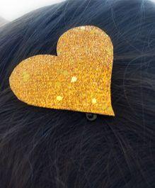 Pretty Ponytails Shimmer Heart Metallic Clip - Golden