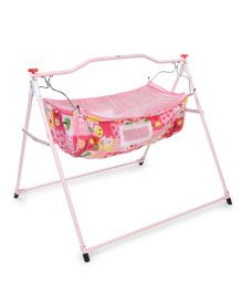 New Natraj Ghodiya Cradle With Mosquito Net Apple & Rabbit Print - Pink