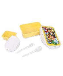 Pratap Hyper Locked Lunch Box With Spoon And Fork - Yellow