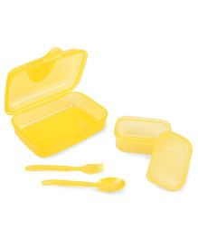 Pratap Happy Bite Lunch Box With Spoon And Fork - Yellow