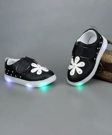 Little Maira LED Shoes With Flower Detailing - Black