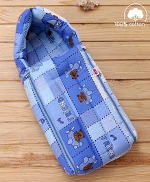 Babyhug lovely Friends Print Sleeping Bag - Blue