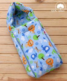 Babyhug Jungle Safari Print Sleeping Bag - Blue
