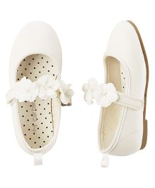 Carter's Floral Applique Belly Shoes - White