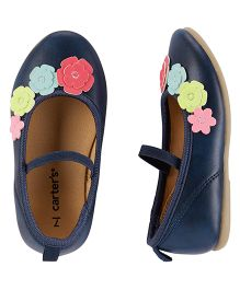 Carter's Floral Aplliques Belly Shoes - Navy Blue