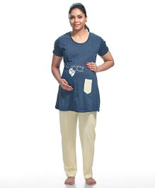 Kriti Half Sleeves Maternity And Nursing Printed Night Suit - Blue