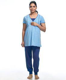 Kriti Short Sleeves Maternity Nursing Night Suit - Blue