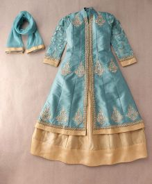 Enfance Solid & Embroidery A-Line Kurta Lehnga Set With Dupatta - Pista & Gold