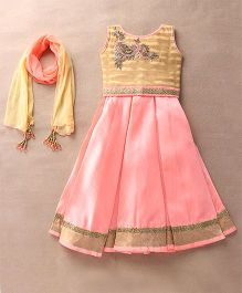 Enfance Embroidered With Diamond Worked Ghaghra Choli & Dupatta Set - Pink & Cream