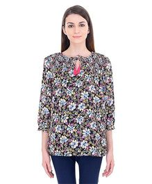 Oxolloxo Three Fourth Sleeves Maternity Top Floral Print - Multi Color