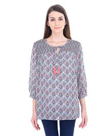 Oxolloxo Three Fourth Sleeves Maternity Chic Top Printed - Grey