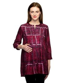 Oxolloxo Three Fourth Sleeves Maternity Pleated Tunic - Maroon