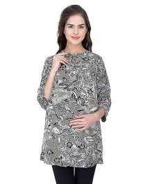 Oxolloxo Long Sleeves Maternity Tunic Floral Print - Black White