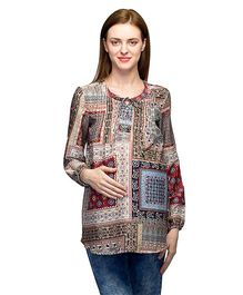 Oxolloxo Long Sleeves Maternity Tunic With Front Tie Up - Multi Color