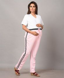 Mama & Bebe Sporty Maternity Track Pants - Pink