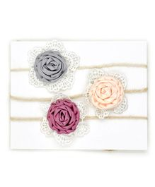 Little Cuddle Vintage Flower Applique Headbands Set Of 3 - Multicolour
