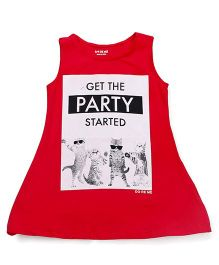 Doreme Sleeveless Frock Get the Party Started Print - Red