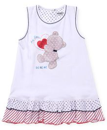 Doreme Sleeveless Frock Teddy With Heart Print - White Red