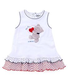 Doreme Sleeveless Frock Teddy with Heart Print - White & Red