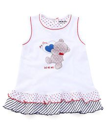 Doreme Sleeveless Frock Teddy with Heart Print - White & Navy Blue