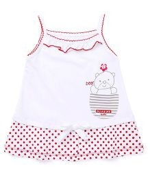 Doreme Singlet Sleeves Frock Teddy Print - Red White