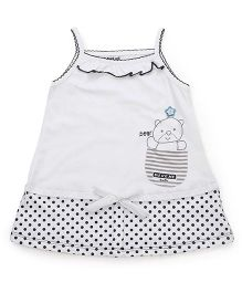 Doreme Singlet Sleeves Frock Teddy Print - Blue And White