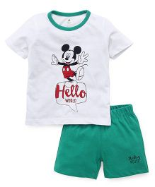Disney By Babyhug Mickey Mouse Print T-shirt And Shorts - White Green