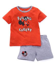 Disney By Babyhug Mickey Mouse Print T-shirt And Shorts - Red Grey