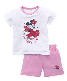 Disney By Babyhug Minnie Mouse Print T-shirt And Shorts - White Pink