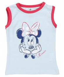 Disney by Babyhug Sleeveless Top Minnie Mouse Print - Sky Blue