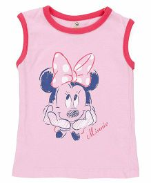 Disney by Babyhug Sleeveless Top Minnie Mouse Print - Pink