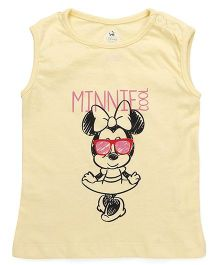 Disney by Babyhug Sleeveless Top Minnie Mouse Print - Lemon Yellow
