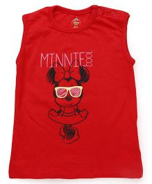 Disney by Babyhug Sleeveless Top Minnie Mouse Print - Red