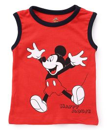 Disney by Babyhug Sleeveless T-Shirt Mickey Mouse Print - Red Black