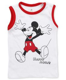 Disney by Babyhug Sleeveless T-Shirt Mickey Mouse Print - White Red