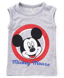 Disney by Babyhug Sleeveless Tee Mickey Mouse Print - Melange Grey