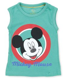 Disney by Babyhug Sleeveless Tee Mickey Mouse Print - Green