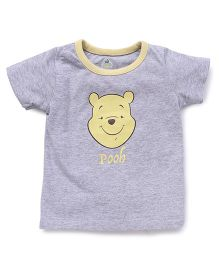 Disney by Babyhug Half Sleeves T-Shirt Pooh Print - Grey