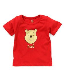 Disney by Babyhug Half Sleeves T-Shirt Pooh Print - Red
