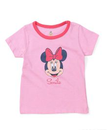Disney By Babyhug Half Sleeves T-Shirt Minnie Mouse Print - Pink