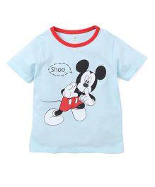 Disney By Babyhug Half Sleeves T-Shirt Mickey Mouse Print - Sky Blue