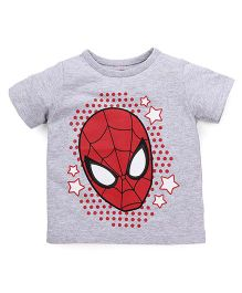Disney by Babyhug Half Sleeves T-Shirt Spider Man Print - Grey Red
