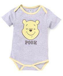 Disney by Babyhug Half Sleeves Onesie Pooh Print - Grey Yellow