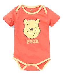 Disney by Babyhug Half Sleeves Onesie Pooh Print - Red Yellow