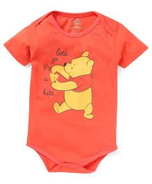 Disney by Babyhug Half Sleeves Onesie Pooh Print - Red