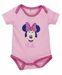 Disney by Babyhug Half Sleeves Onesies Minnie Mouse Print - Baby Pink